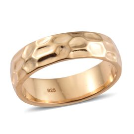 Silver 6mm Texture Band Ring in Gold Overlay, Silver wt. 4.00 Gms.