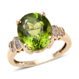 5.45 Ct AAA Hebei Peridot and Diamond Solitaire Desgin Ring in 9K Gold 2.79 Grams