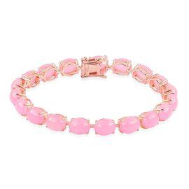Pink Jade (Ovl) Bracelet (Size 7.5) in Rose Gold Overlay Sterling Silver 41.500 Ct.
