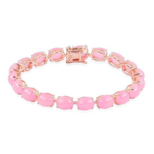 Pink Jade (Ovl) Bracelet (Size 7.5) in Rose Gold Overlay Sterling Silver 41.500 Ct.