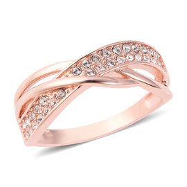 J Francis - Crystal from Swarovski White Crystal (Rnd) Band Ring in Rose Gold Overlay Sterling Silve