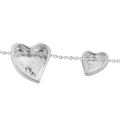 ETERNITY Crystal from Swarovski Double Heart Necklace (Size 18 with 2 inch Extender) in Silver Tone - Black