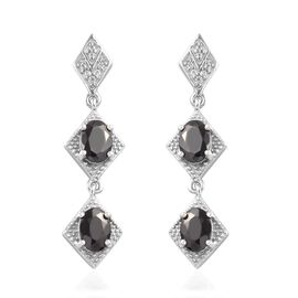 Elite Shungite and Natural Cambodian Zircon Dangle Earrings (with Push Back) in Platinum Overlay Ste