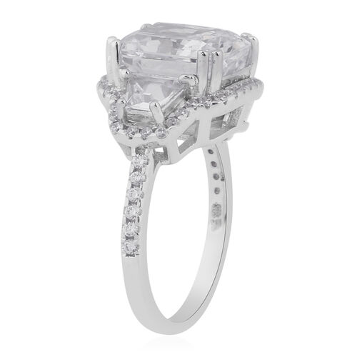 ELANZA Simulated Diamond Ring in Platinum Overlay Sterling Silver 7.80 Ct.