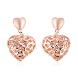 RACHEL GALLEY Rose Gold Overlay Sterling Silver Amore Heart Earrings (with Push Back), Silver wt 6.6