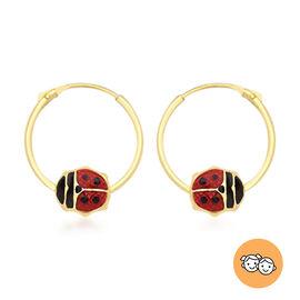 Ladybird Hoop Earrings for Kids in 9K Yellow Gold