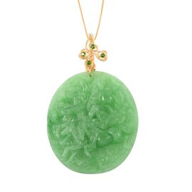 Carved Green Jade and Russian Diopside Pendant with Chain (Size 18) in Yellow Gold Overlay Sterling