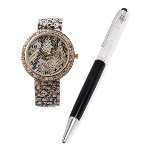 2 Piece Set - STRADA Japanese Movement White Austrian Crystal Studded Water Resistant Watch with Snake Skin Pattern Strap and White and Black Colour Pen