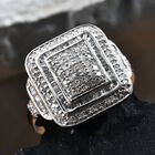 Diamond (Rnd and Bgt) Ring (Size L) in Platinum Overlay Sterling Silver 0.75 Ct, Silver wt 5.58 Gms, Number of Diamonds 190