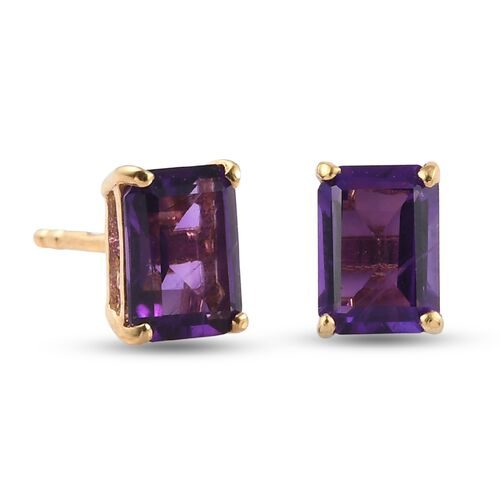 African Amethyst Earring in 14K Gold Overlay Sterling Silver 1.70 ct  1.700  Ct.