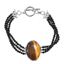 39.25 Ct Boi Ploi Black Spinel and Tigers Eye 3 Strand Beaded Bracelet in Platinum Plated 7.5 Inch