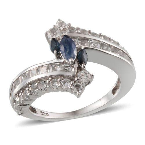 Kanchanaburi Blue Sapphire (Mrq), White Topaz Crossover Ring in Platinum Overlay Sterling Silver 2.500 Ct.