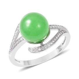 4.88 Ct Green Jade and Simulated Diamond Solitaire Ring in Rhodium Plated Silver