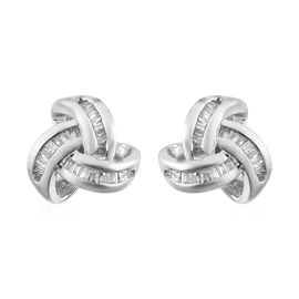 Diamond (Bgt) Triple Knot Stud Earrings (with Push Back) in Platinum Overlay Sterling Silver 0.25 Ct