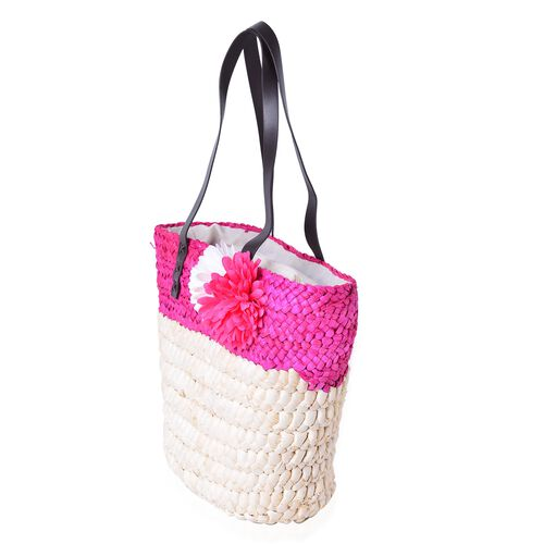 Bali Collection Hot Fuchsia Straw Woven Large Tote Bag (Size 41.5x30.5x25.5x13.5 Cm)