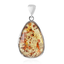 Extremely Rare AAA Champagne Baltic Amber (Pear) Pendant in Sterling Silver, Silver wt 9.00 Gms
