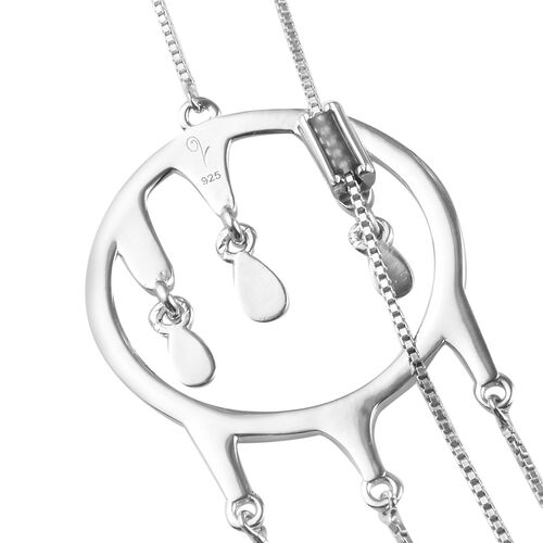 LucyQ Adjustable Drip Necklace (Size 30) in Rhodium Overlay Sterling Silver, Silver wt 9.88 Gms