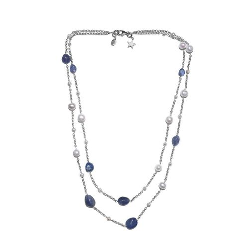 GP Freshwater Pearl, Tanzanite and Blue Sapphire Two Strand Necklace (Size 20) with Charm in Rhodium