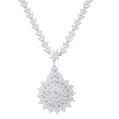 ELANZA Simulated White Dimaond (Rnd and Bgt) Floral Necklace (Size 17.5) in Rhodium Plated Sterling