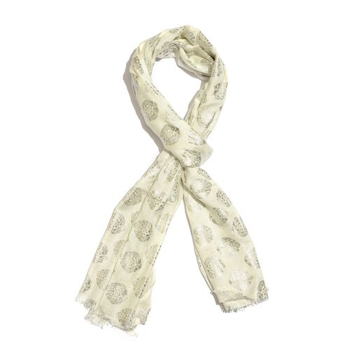 Ivory and Silver Colour Foil Printed Scarf (Size 200X65 Cm)