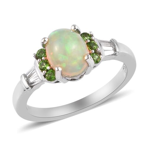 AA Ethiopian Welo Opal and Russian Diopside Ring in Platinum Overlay Sterling Silver 1.26 Ct.