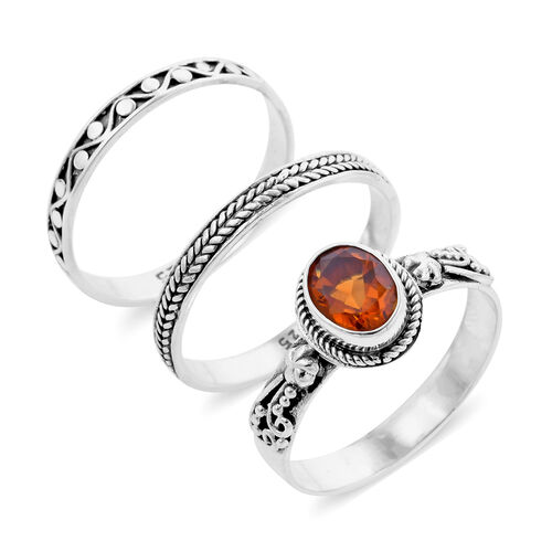 Royal Bali Collection - Set of 3 Madeira Citrine Ring in Sterling Silver 1.19 Ct, Silver wt 6.81 Gms
