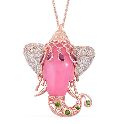 Pink Jade, Rhodolite Garnet, Russian Diopside and Natural White Cambodian Zircon Elephant Head Pendant With Chain (Size 30) in Rose Gold Overlay Sterling Silver 44.650 Ct.