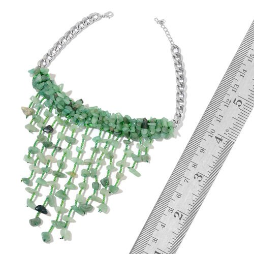 Green Aventurine and Simulated Green Colour Beads Waterfall Necklace (Size 16) in Silver Tone 701.500 Ct.