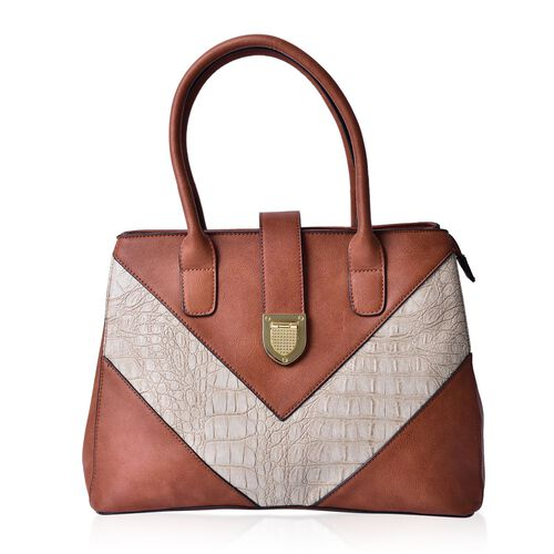 Karlie Italian Tan V - Pattern Tote Bag with External Zipper Pocket (Size 35x25.5x15 Cm)