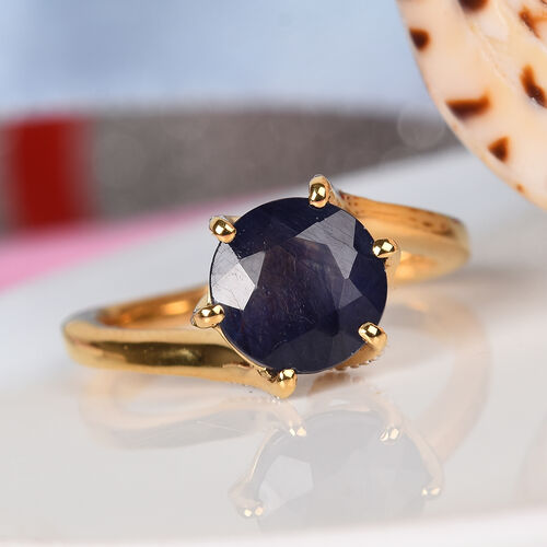 GP Twist Ring- Masoala Sapphire (Rnd 8 mm) and Blue Sapphire Ring in 14K Gold Overlay Sterling Silver 2.97 Ct.