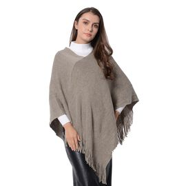 Close Out-Taupe Colour Poncho with Tassels (Size 80x65 Cm)