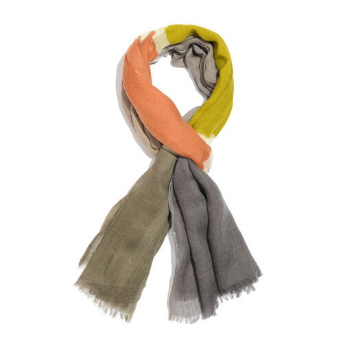 100% Merino Wool Orange, Green and Multi Colour Scarf with Fringes (Size 170X70 Cm)