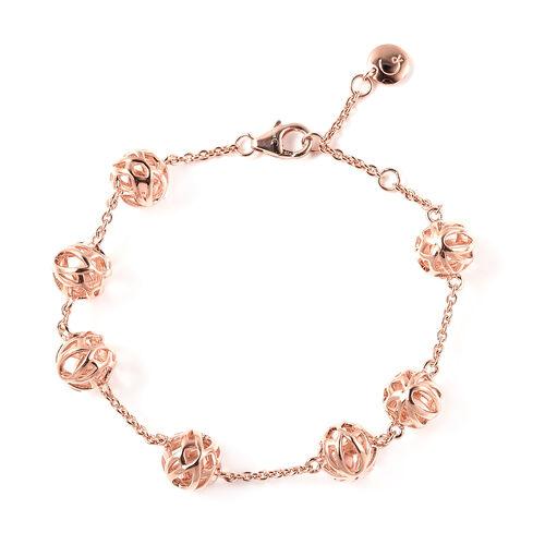 RACHEL GALLEY Lotus Collection - Rose Gold Overlay Sterling Silver Adjustable Bracelet (Size - 7/7.5