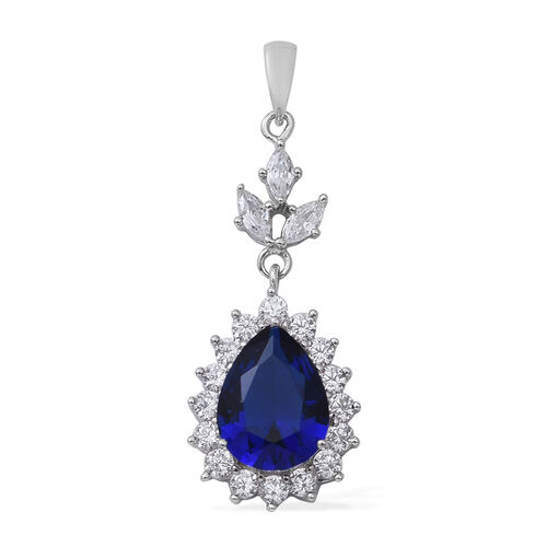 2 Piece Set - ELANZA Simulated Blue Sapphire (Pear 13x10 mm), Simulated Diamond Drop Dangle Earrings (with Push Back) and Pendant in Rhodium Overlay Sterling Silver, Silver wt 7.00 Gms.