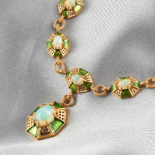 Ethiopian Welo Opal Enamelled Necklace (Size 20) in 14K Gold Overlay Sterling Silver 5.50 Ct, Silver wt. 27.63 Gms
