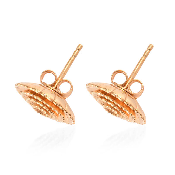 14K Gold Overlay Sterling Silver Stud Earrings with (Push Back)