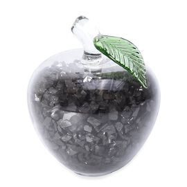 Decorative Shungite Filled Transparent Crystal Apple with Green Leaf  (Size 8x8.8 Cm)