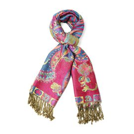 Rose Red and Multi Colour Paisley Pattern Jacquard Tassel Scarf (Size 70x180+9 Cm)