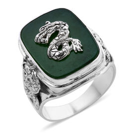 Royal Bali Collection - Green Jade Dragon Ring in Sterling Silver 12.25 Ct.