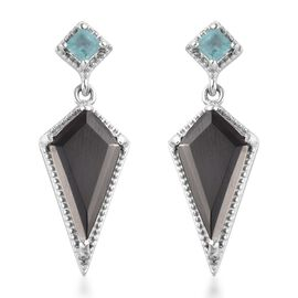 GP 3.29 Ct Elite Shungite and Multi Gemstone Kite Drop Earrings in Platinum Plated Silver