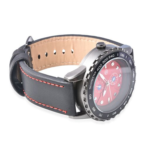 STRADA Japanese Movement Water Resistance Sporty Look Watch with Black Strap and Red Dial
