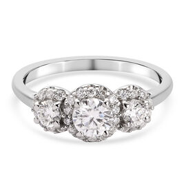 Moissanite Halo Ring in Platinum Overlay Sterling Silver 1.211  Ct.