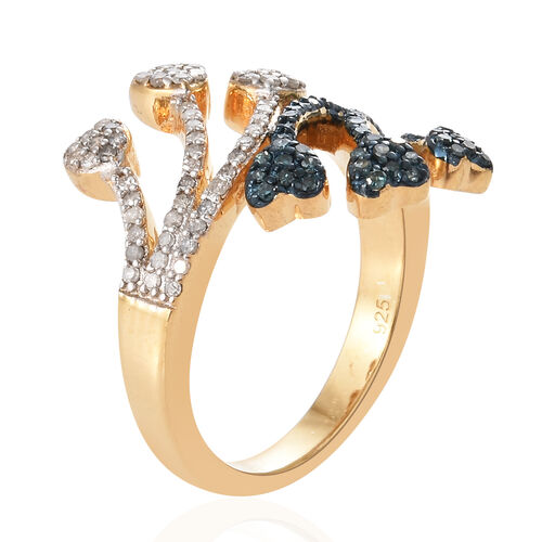 Blue and White Diamond (Rnd) Heart Bypass Ring in 14K Gold Overlay with Blue Plating Sterling Silver 0.500 Ct.