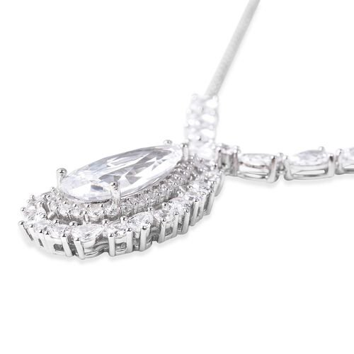 ELANZA Simulated Diamond (Pear and Rnd) Necklace (Size 18) in Rhodium Overlay Sterling Silver, Silver wt 13.50 Gms