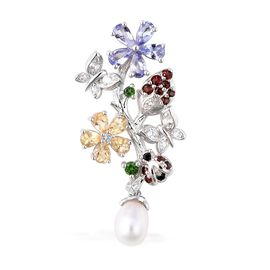Jardin Collection Fresh Water Pearl and Multi Gemstone Floral Pendant in Rhodium Plated Silver