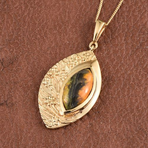 Bumble Bee Jasper (Mrq) Solitaire Pendant With Chain in 14K Gold Overlay Sterling Silver 6.250 Ct.