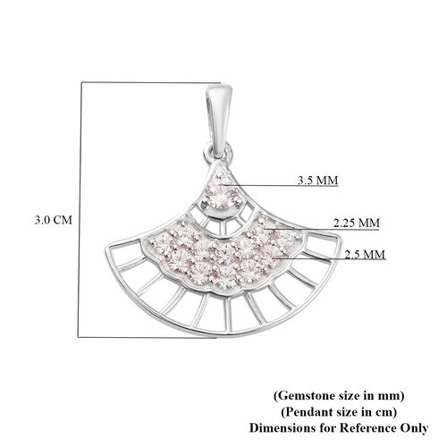 J Francis - Fancy Pendant in Platinum Overlay Sterling Silver Made with SWAROVSKI ZIRCONIA