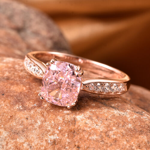 Lustro Stella - Simulated Pink Diamond and Simulated White Diamond Ring in Rose Gold Overlay Sterling Silver