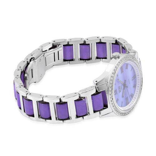 EON 1962 - Swiss Movement Purple Jade, White Topaz and MOP Watch