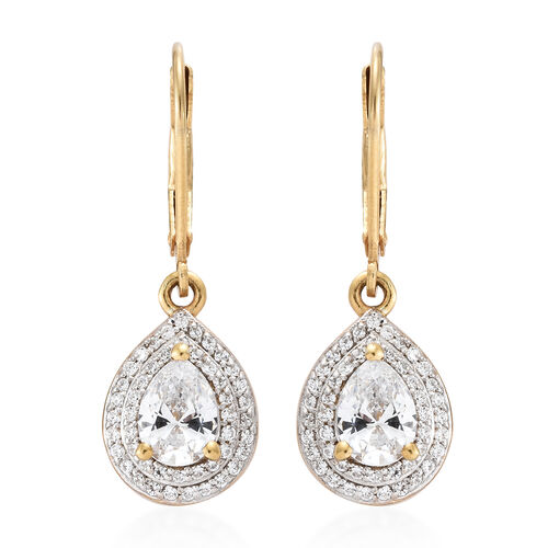 J Francis - 14K Gold Overlay Sterling Silver (Pear and Rnd) Lever Back Earrings Made with SWAROVSKI